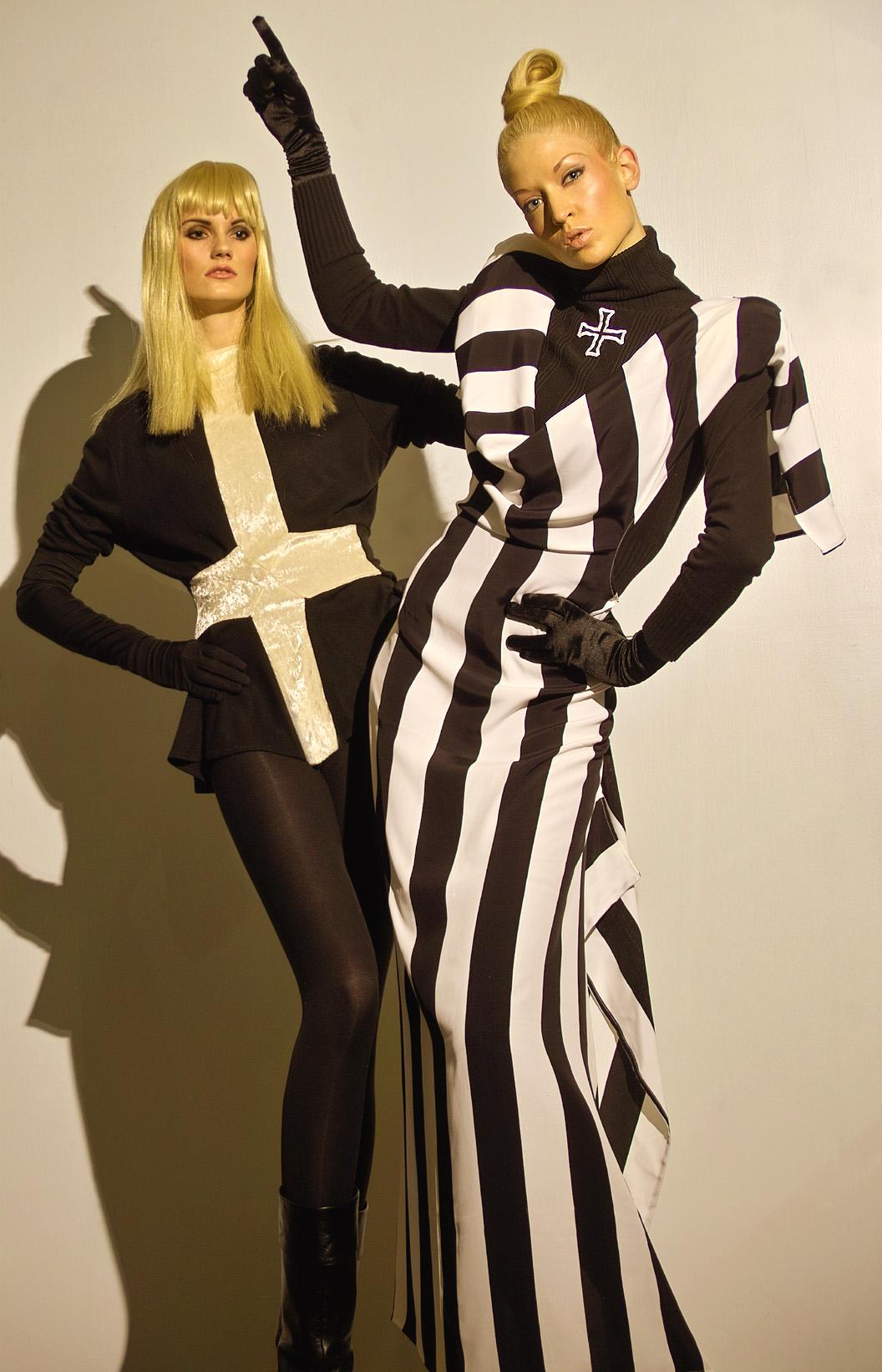 Black and white avant-garde dresses
