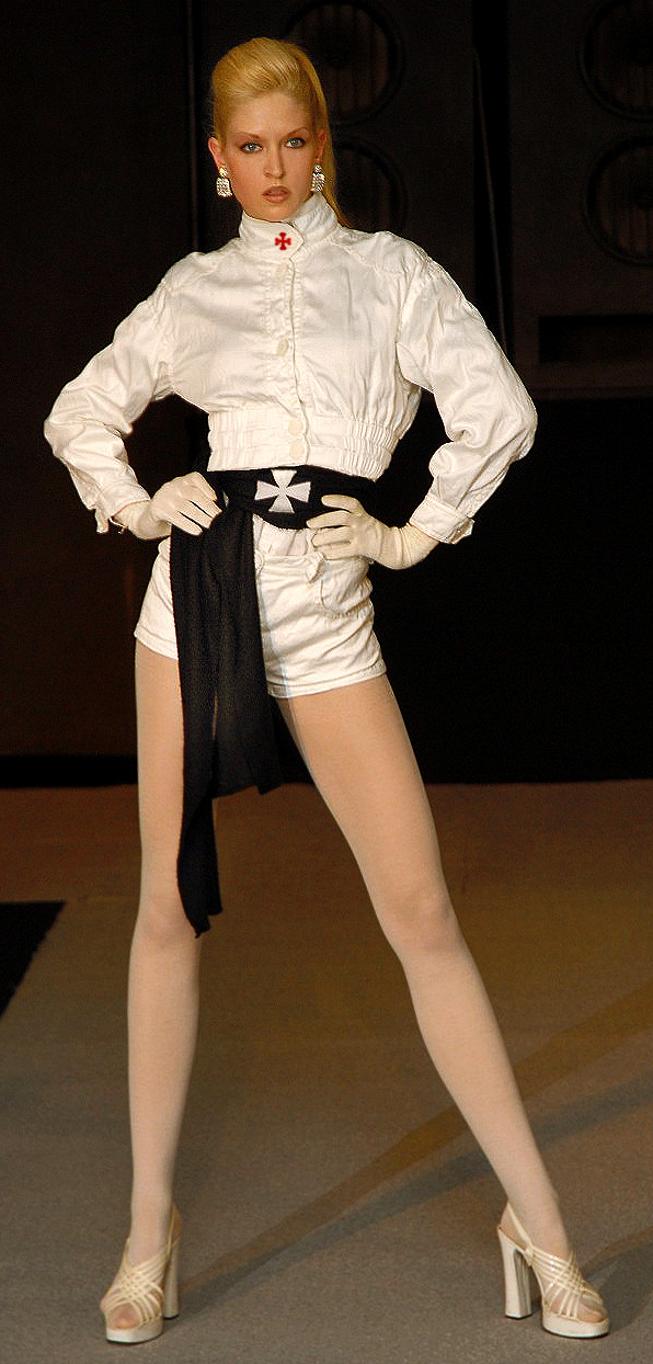 The international top model Vera Gafron poses in white Templar sporty outfit in noble silk on the runway by the german fashion designer Torsten Amft for the Fall / Winter 2008 - 2009 trend collection during the Berlin Fashion Week. - photo: M.Wittig